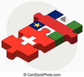Switzerland and Central African Republic Flags in puzzle...