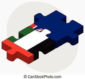 United Arab Emirates and Cayman Islands Flags in puzzle...
