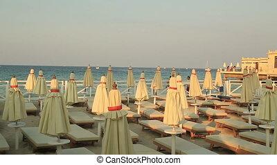 Mondello beach Pier in Palermo Sicily Italy