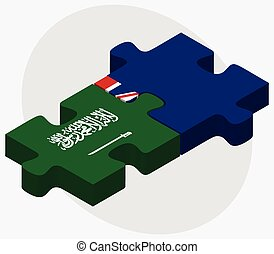 Saudi Arabia and Cayman Islands Flags in puzzle isolated on...