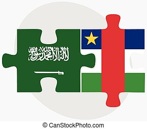 Saudi Arabia and Central African Republic Flags in puzzle...
