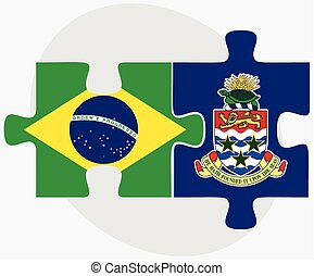 Brazil and Cayman Islands Flags in puzzle isolated on white...