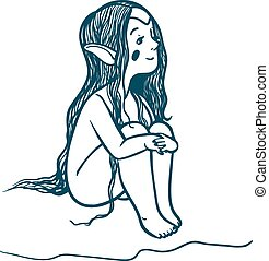 cute and happy looking elf with long hairs dreaming on...