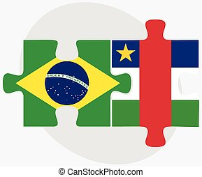 Brazil and Central African Republic Flags in puzzle isolated...
