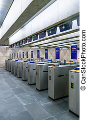 Turnstiles on an entrance to the subway