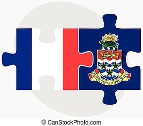 France and Cayman Islands Flags in puzzle isolated on white...