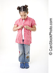 young girl dressing up isolated on white