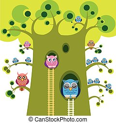 Owls vector illustration. Owls family on branches of great tree. Owlets on branches. Big owl grandfather sleep in tree hole. Summer day in owls forest. Cute cartoon owl.