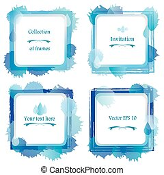 Set of 4 square abstract water frame Watercolor painted...