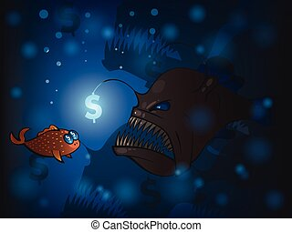 Angler fish - Illustration of angler fish and the small fish