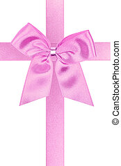 Big pink holiday bow perfectly isolated on white background (very easy to cut out)