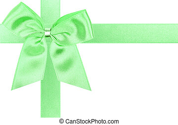 Big green holiday bow perfectly isolated on white background (very easy to cut out)