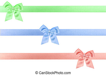 3 colored holiday bow perfectly isolated on white background (very easy to cut out)