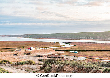 Boat launch site in the Olifants River estuary - A boat...