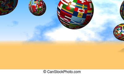 Flag Globes - A motion graphic animation with bouncing flag...