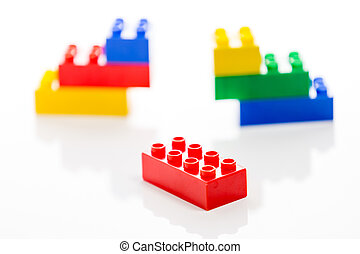 Colorful plastic bricks, missing link
