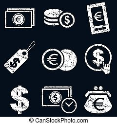 Currency icon set, white grunge - Currency icon set, white...