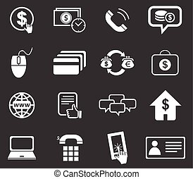 Finance icon set 5, monochrome - Finance icon set 5, simple...
