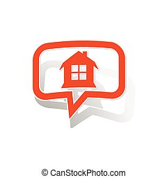 House message sticker, orange chat bubble with image inside,...