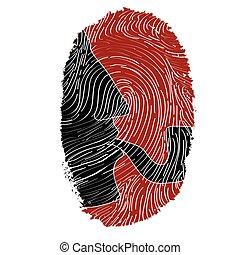 Sherlock Holmes -fingerprint - Sherlock Holmes silhouette in...