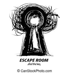 Keyhole Thee - concept illustration of Escape Room. Black...