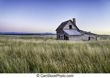 Ranch House in South Dakota at Sunset.