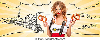 Where is my beer - Beautiful offended Oktoberfest waitress...