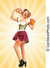 Serving with joy. - Beautiful excited Oktoberfest waitress...