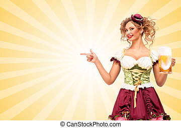 Look there. - Beautiful smiling sexy Oktoberfest waitress...