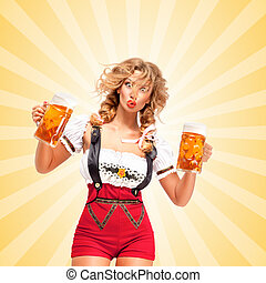 Festive beers - Beautiful surprised sexy woman wearing red...
