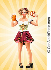 Happy hours - Beautiful sexy Oktoberfest waitress wearing a...