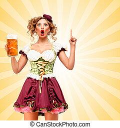 Got a plan - Beautiful smiling sexy Oktoberfest waitress...