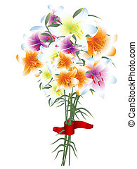 Illustration of multicolored lily bouquet against white