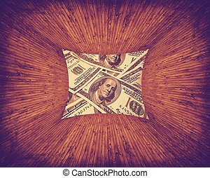 dollars texture - texture of dollars placed in a wooden...