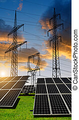 Solar panels with electricity pylons. Clean energy concept.