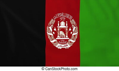 Flag of Afghanistan, slow motion waving. Rendered using...