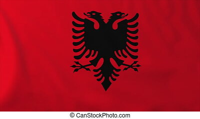 Flag of Albania, slow motion waving. Rendered using official...