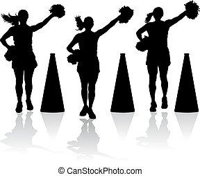 Cheerleaders with megaphones - silhouette styled vector...
