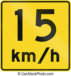 Speed Limit 15 Kmh In Canada - A road sign in Canada - Speed...