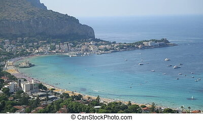 Beautiful beach areal view - Mondello town and beach areal...