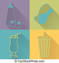 Set of four colored fast food icons in flat style Template...
