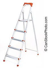 ladder - metal ladder isolated at white