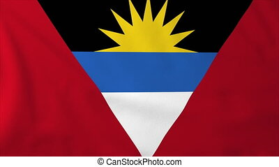 Flag of Antigua and Barbuda, slow motion waving. Rendered...