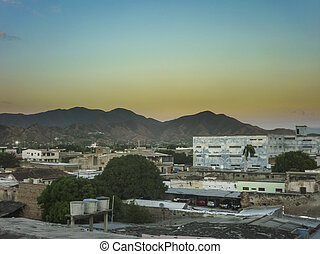 Aerial View of Santa Marta Colombia - Sunset scene aerial...