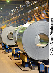 Rolls of metal sheet inside of steel plant