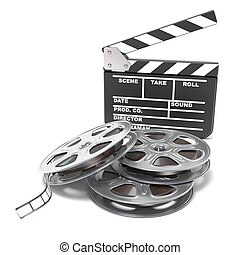 Film reels and movie clapper board. Video icon. 3D render...