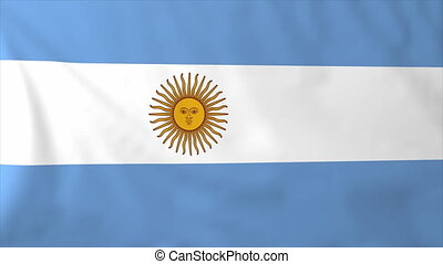 Flag of Argentina, slow motion waving. Rendered using...