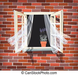 Open window with lavender - Illustration of open window with...