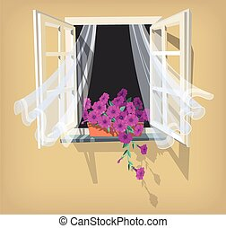 Open window - Illustration of open window with purple...