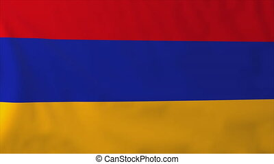 Flag of Armenia, slow motion waving. Rendered using official...